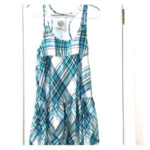 VS PINK SUN DRESS IN PLAID OF BLUES, GREENS WHITE